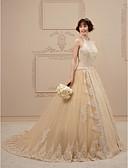 billiga Brudklänningar-Balklänning Halterneck Kapellsläp Spets / Tyll Smala axelband Brudklänning i färg Bröllopsklänningar tillverkade med Kristall / Bård / Applikationsbroderi 2020