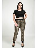 baratos Calças Femininas-Mulheres Tamanhos Grandes Diário Justas / Skinny / Reto Calças - Leopardo Castanho Claro L XL XXL