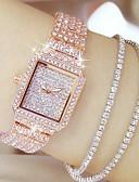 ราคาถูก นาฬิกาข้อมือสแตนเลส-สำหรับผู้หญิง นาฬิกาหรู นาฬิกาเพชร นาฬิกาทอง ญี่ปุ่น นาฬิกาอิเล็กทรอนิกส์ (Quartz) สแตนเลส เงิน / ทอง / Rose Gold 30 m นาฬิกาใส่ลำลอง ระบบอนาล็อก สุภาพสตรี เสน่ห์ แฟชั่น Bling Bling - Rose Gold