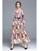 Χαμηλού Κόστους Μακριά Φορέματα-Γυναικεία Κομψό στυλ street Swing Φόρεμα - Φλοράλ Μακρύ