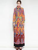 Χαμηλού Κόστους Μακριά Φορέματα-Γυναικεία Βαμβάκι Swing Φόρεμα - Γεωμετρικό, Στάμπα Μακρύ Κολάρο Πουκαμίσου