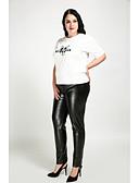 olcso nadrág-Női Extra méret Sovány / Egyenes / Vékony Nadrág - Egyszínű Fekete / Pamutszövet nadrág