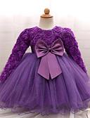 Χαμηλού Κόστους Βρεφικά φορέματα-Μωρό Κοριτσίστικα Πάρτι / Γενέθλια Συμπαγές Χρώμα Μακρυμάνικο Κανονικό Βαμβάκι Φόρεμα Ανθισμένο Ροζ