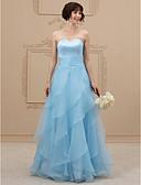 Χαμηλού Κόστους Νυφικά-Γραμμή Α Καρδιά Μακρύ Οργάντζα / Σατέν Στράπλες Νυφικά Με Χρώμα / Open Back Φορέματα γάμου φτιαγμένα στο μέτρο με Ζωνάρια / Κορδέλες / Με διαδοχικές σούρες 2020