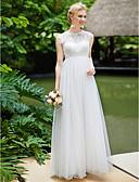 Χαμηλού Κόστους Φορέματα Χορού Αποφοίτησης-Γραμμή Α Με Κόσμημα Μακρύ Τούλι πάνω από δαντέλα Κανονικοί ιμάντες Με Όμορφη Πλάτη Φορέματα γάμου φτιαγμένα στο μέτρο με Διακοσμητικά Επιράμματα / Που καλύπτει 2020