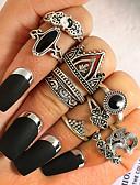 billiga Armbandsklockor-Dam Ring Onyx 10pcs Silver Legering Statement damer Ovanligt Gåva Dagligen Smycken
