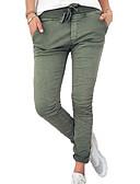 ราคาถูก กางเกงผู้หญิง-สำหรับผู้หญิง พื้นฐาน ที่ปกคลุมขา - สีพื้น ข้อมือระดับกลาง สีดำ สีเทา อาร์มี่ กรีน L XL XXL / เพรียวบาง