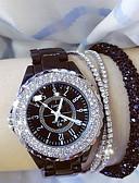 Χαμηλού Κόστους Quartz Ρολόγια-Γυναικεία κυρίες Ρολόι Καρπού Diamond Watch ρολό περιτυλίγματος Ιαπωνικά Χαλαζίας Κεραμικό Μαύρο / Λευκή 30 m Καθημερινό Ρολόι Αναλογικό Φυλαχτό Bling Bling - Λευκό Μαύρο / Ανοξείδωτο Ατσάλι