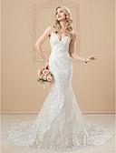 Χαμηλού Κόστους Νυφικά-Τρομπέτα / Γοργόνα Καρδιά Μακριά ουρά Σατέν / Τούλι πάνω από δαντέλα Λεπτές Τιράντες Open Back Φορέματα γάμου φτιαγμένα στο μέτρο με Διακοσμητικά Επιράμματα / Κουμπί 2020