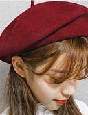 Χαμηλού Κόστους Women's Hats-Γυναικεία Μονόχρωμο Βίντατζ Μαλλί Κομψό-Ρεπούμπλικα Άνοιξη, Φθινόπωρο, Χειμώνας, Καλοκαίρι Σκούρο γκρι Κρασί