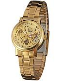 זול שעונים מכאניים-WINNER בגדי ריקוד נשים שעוני שלד שעון יד שעון זהב אוטומטי נמתח לבד מתכת אל חלד כסף / זהב 30 m חריתה חלולה אנלוגי נשים וינטאג' יום יומי אופנתי אלגנטית - זהב כסף