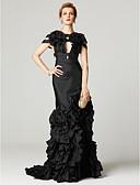 ราคาถูก Special Occasion Dresses-ทรัมเป็ต / เมอร์เมด ไหล่ตก ชายกระโปรงลากพื้น ซาติน / Taffeta สไตล์ของบุคคลที่มีชื่อเสียง ค็อกเทลปาร์ตี้ / ทางการ แต่งตัว กับ ดอกไม้ / พลีท โดย TS Couture®