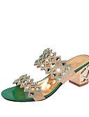 ราคาถูก ชุดเดรสลูกไม้สุดโรแมนติก-สำหรับผู้หญิง รองเท้าแตะ Crystal Sandals ส้นหนา / Block Heel Pointed Toe คริสตัล PU ความสะดวกสบาย ฤดูร้อน สีทอง / สีเขียว / แดง / EU40