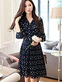 Χαμηλού Κόστους Γυναικεία Φορέματα-Γυναικεία Εξόδου Βίντατζ Φανάρι μανίκι Γραμμή Α Φόρεμα - Φλοράλ, Πλισέ Ως το Γόνατο Ψηλή Μέση