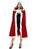Χαμηλού Κόστους Γαμήλιες Εσάρπες-Άγιος Βασίλης Κ. Claus Μανδύας Santa Clothe Γυναικεία Χριστούγεννα Γιορτές / Διακοπές Χνουδωτό Ύφασμα Κόκκινο Αποκριάτικα Κοστούμια Μονόχρωμο