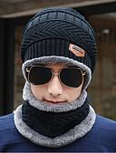 Χαμηλού Κόστους Men's Hats-Ανδρικά Μονόχρωμο Γραφείο Πουλόβερ Πλεκτό-Καπελίνα Χειμώνας Μαύρο Γκρίζο