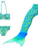 זול בגדי ים לבנות-בגדי ים טלאים אחיד / אנימציה / שיפוע זנב של בתולת ים / בת הים הקטנה חוף סגנון חמוד בנות ילדים