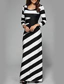 baratos Vestidos Casuais-Mulheres Festa Feriado Moda de Rua Delgado Bainha Vestido Listrado Cintura Alta Longo Preto & Branco