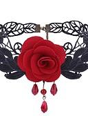 Χαμηλού Κόστους Ρολόγια-Γυναικεία Συνθετικό Αμέθυστο Κολιέ Τσόκερ Λουλούδι κυρίες Γκόθικ Γλυκός Μοντέρνα Δαντέλα Ύφασμα Κράμα Μαύρο Κόκκινο Κολιέ Κοσμήματα 1 Για Καθημερινά Στολές Ηρώων