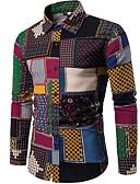 baratos Camisas Femininas-Homens Camisa Social Vintage / Boho Floral / Xadrez / Estampado Cashemere Algodão Colarinho Italiano Delgado Azul Claro / Manga Longa / Primavera / Outono