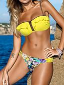 ราคาถูก ชุดบิกินี-สำหรับผู้หญิง ระบาย สีเหลือง บิกินี่ ชุดว่ายน้ำ - สีพื้น ลายพิมพ์ L XL XXL สีเหลือง