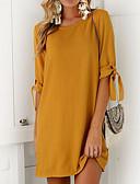 Χαμηλού Κόστους Γυναικεία Φορέματα-Γυναικεία Κομψό στυλ street Σε γραμμή Α Φόρεμα - Μονόχρωμο, Φιόγκος Μίνι