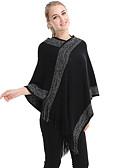 ราคาถูก ผ้าคลุมไหล่-สำหรับผู้หญิง สีพื้น / ลายแถบ ขนสัตว์ สี่เหลี่ยมผืนผ้า / ตก / ฤดูหนาว