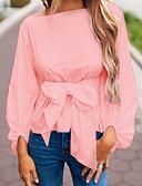 baratos Camisas Femininas-Mulheres Camisa Social - Trabalho Sólido Branco / Primavera / Outono / Laço