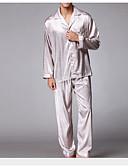 ราคาถูก ชุดนอน&ชุดคลุมอาบน้ำสำหรับผู้ชาย-สำหรับผู้ชาย ชุด ชุดนอน-สไตล์,สีพื้น