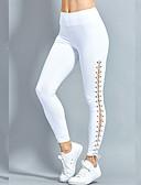 ราคาถูก เลกกิ้ง-สำหรับผู้หญิง ทุกวัน / ไปเที่ยว Sexy สีของแข็ง ที่ปกคลุมขา - สีพื้น, ไขว้ / กีฬา / สไตล์ ระดับปกติ ขาว สีดำ M L XL / สกินนี่