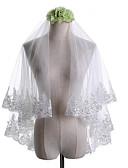 ราคาถูก ม่านสำหรับงานแต่งงาน-Two-tier Klasszikus / งานผ้าขอบลายลูกไม้ ผ้าคลุมหน้าชุดแต่งงาน Elbow Veils กับ ลูกไม้ / ปักเลื่อม ลูกไม้ / Tulle / คลาสสิก