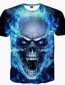 baratos Camisetas & Regatas Masculinas-Homens Camiseta - Bandagem Básico Estampado, Caveiras Decote Redondo Azul / Manga Curta / Verão