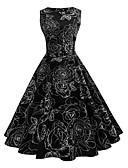 ราคาถูก ชุดเดรสวินเทจ-สำหรับผู้หญิง ปาร์ตี้ วินเทจ สวิง แต่งตัว - ลายพิมพ์, ลายดอกไม้ ยาวถึงเข่า Black