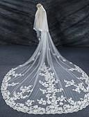 Χαμηλού Κόστους Πέπλα Γάμου-Δύο-βαθμίδων Άκρη με Απλίκα Δαντέλας / Γάμος / Νυφικό Πέπλα Γάμου Πολύ Μακριά Πέπλα με Δαντέλα Δαντέλα / Τούλι / Στυλ Αγγέλου / Καταρράκτης