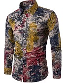 povoljno Muške košulje-Majica Muškarci - Boho / Kinezerije Izlasci / Klub Lan Drveće / lišće Kineski ovratnik Duga / Dugih rukava