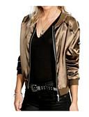 Χαμηλού Κόστους Bomber Jackets-Γυναικεία Καθημερινά Φθινόπωρο Κοντό Σακάκι, Μονόχρωμο Λαιμόκοψη V Μακρυμάνικο Βαμβάκι / Ακρυλικό Υπερμεγέθη Χρυσό / Μαύρο L / XL / XXL