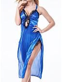 ราคาถูก สไตลตุ๊กตาเบบี้-สำหรับผู้หญิง ลูกไม้ Sexy ชุดคลุมนอน เสื้อนอน สีพื้น ขาว สีน้ำเงิน ทับทิม S M L / คอวี
