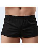 baratos Moda Íntima Exótica para Homens-Homens Sexy Cueca Boxer Sólido 1 Peça Preto Amarelo Azul M L XL / Delgado