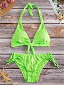billige Bikinis-Dame Solid Grime Fuksia Grønn Blå Bikini Badetøy - Ensfarget M L XL Fuksia / Dytt opp / Fôret BH / Justerbare
