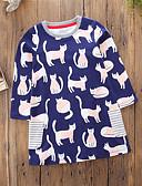 Χαμηλού Κόστους Φορέματα για κορίτσια-Νήπιο Κοριτσίστικα Καθημερινό Κινούμενα σχέδια Καθημερινά Εξόδου Ριγέ Γάτα Μακρυμάνικο Φόρεμα Βαθυγάλαζο / Χαριτωμένο