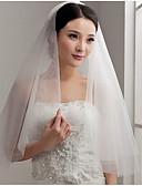 ราคาถูก ม่านสำหรับงานแต่งงาน-Two-tier ตัดมุม ผ้าคลุมหน้าชุดแต่งงาน กับ จับย่น Tulle / คลาสสิก
