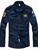 ราคาถูก เสื้อเชิ้ตผู้ชาย-สำหรับผู้ชาย เชิร์ต Military พื้นฐาน ปกคลาสสิค เพรียวบาง สีพื้น สีดำ / แขนยาว / ฤดูใบไม้ผลิ