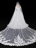 ราคาถูก ม่านสำหรับงานแต่งงาน-ชั้นเดียว สไตล์สมัยใหม่ / เครื่องประดับ / รูปแบบดอกไม้ ผ้าคลุมหน้าชุดแต่งงาน Blusher Veils / ผ้าคลุมศรีษะสำหรับชุดแต่งงาน กับ เข็มกลัด Tulle / Angel cut / Waterfall / งานผ้าขอบลายลูกไม้
