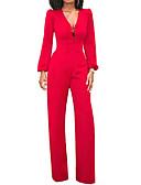 ราคาถูก จั๊มสูทและเสื้อคลุมสำหรับผู้หญิง-สำหรับผู้หญิง ขากว้าง ทุกวัน คอวี สีดำ สีน้ำเงิน ทับทิม ขากว้าง ชุด Jumpsuits Onesie, สีพื้น S M L เอวสูง แขนยาว ฤดูร้อน ตก