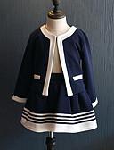 povoljno Kompletići za djevojčice-Djeca Djevojčice Ulični šik Dnevno Izlasci Prugasti uzorak Kolaž Kolaž Dugih rukava Normalne dužine Komplet odjeće Navy Plava