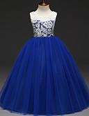 Χαμηλού Κόστους Λουλουδάτα φορέματα για κορίτσια-Παιδιά Κοριτσίστικα Γλυκός Πάρτι Συνδυασμός Χρωμάτων Δαντέλα Αμάνικο Φόρεμα Πράσινο του τριφυλλιού / Βαμβάκι
