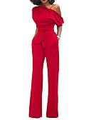 ราคาถูก จั๊มสูทและเสื้อคลุมสำหรับผู้หญิง-สำหรับผู้หญิง ขากว้าง Kentucky Derby ไหล่เดียว สีดำ ไวน์ สีฟ้า ขากว้าง เพรียวบาง ชุด Jumpsuits Onesie, สีพื้น S M L แขนสั้น ฤดูใบไม้ผลิ ฤดูร้อน