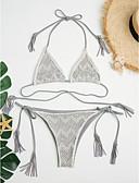 baratos Bikinis-Mulheres Sólido Borla Cinzento Tanga Biquíni Roupa de Banho - Sólido Coração Estilo Borboleta Estilo Moderno S M L Cinzento