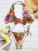 billige Bikinis-Dame Blomster Bohem Rød Bikini Badetøy - Trykt mønster M L XL Rød