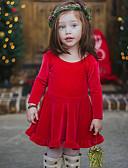 povoljno Haljinice za bebe-Dijete Djevojčice Jednostavan Božić / Dnevno Jednobojni Kratkih rukava Regularna Normalne dužine Pamuk / Lan / Bambus vlakna Haljina Red / Dijete koje je tek prohodalo